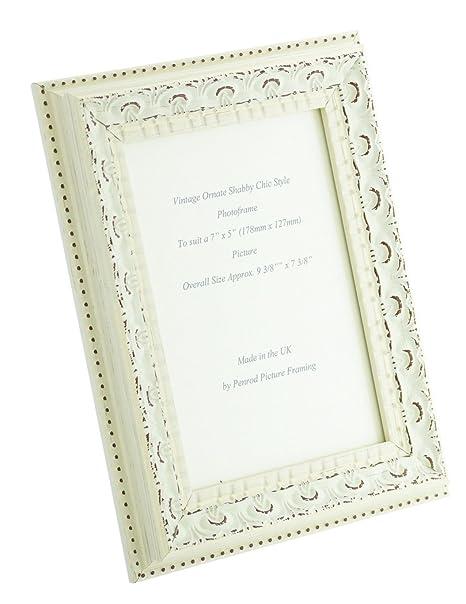 Handmade Ornate Distressed White Shabby Chic Vintage 7x5 inch Photo ...