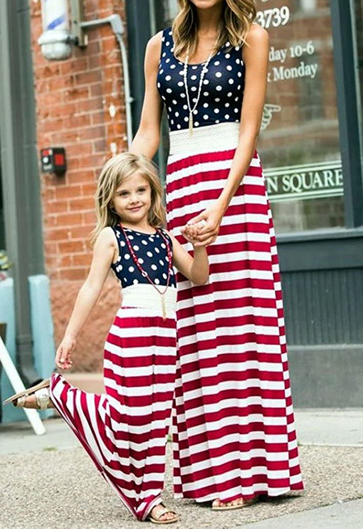 4th of July Mommy and Me American Flag Striped Dot Patchwork Long Maxi Dress Beach Sleeveless Tank Dress