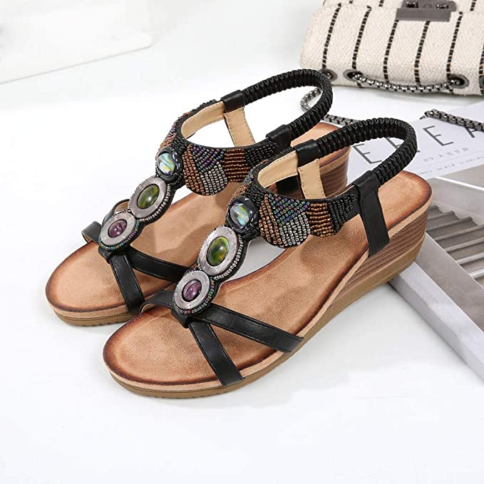 e1edba8ad6 Amazon.com: Womens Crisscross Open Toe Bead Design Sandals, MmNote Summer  Faux Leather Outdoor Breathable Low Wedge Sandals: Clothing