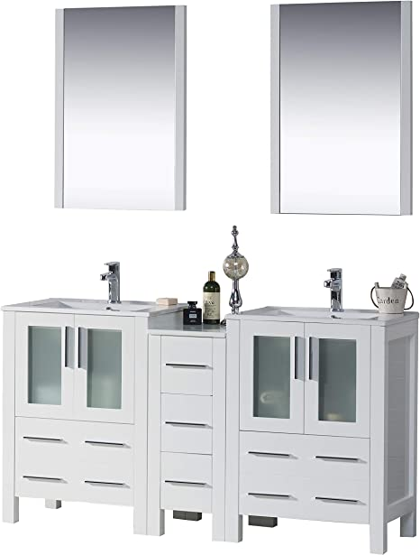 Amazon Com Blossom Sydney 60 Inches Double Sink Bathroom Vanity Side Cabinet Ceramic Sink With Mirror All Wood Glossy White 001 60 01 D Kitchen Dining