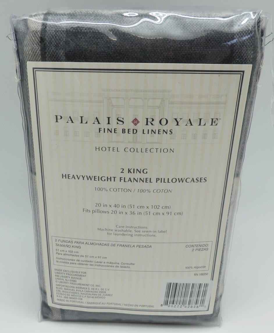 Amazon.com: Two Palais Royale Fine Bed Linens King Size Heavyweight Flannel Pillowcases Yarn-Dyed Plaid RN 100350: Home & Kitchen