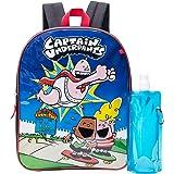 Captain Underpants Backpack Combo Set - Captain Underpants Boys' 3 Piece Backpack Set - Backpack, Waterbottle and Carabina (Black/Royal)