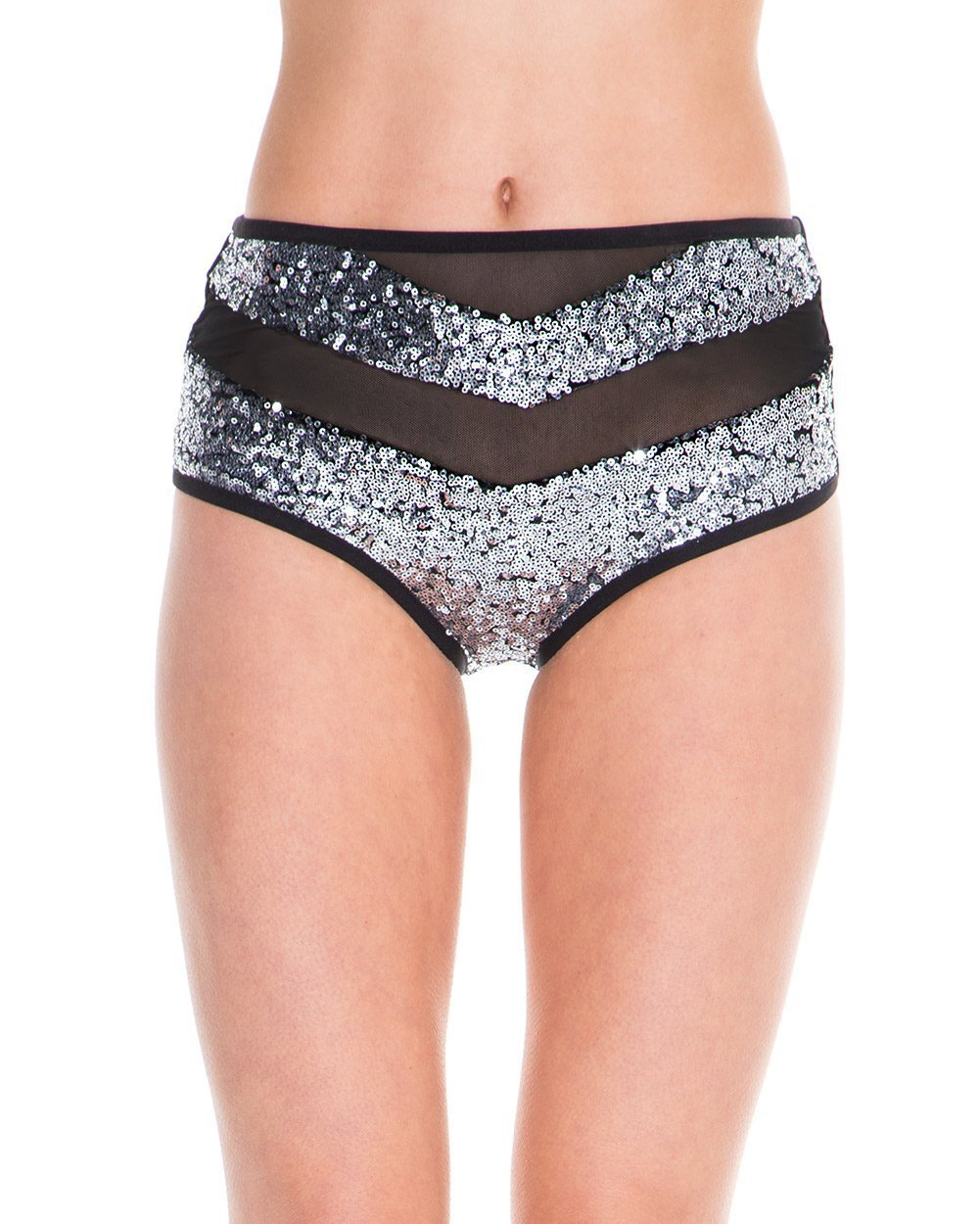 iHeartRaves Black Mesh Silver Mini Sequin Sparkle Dust Booty Shorts Bottoms (Small)