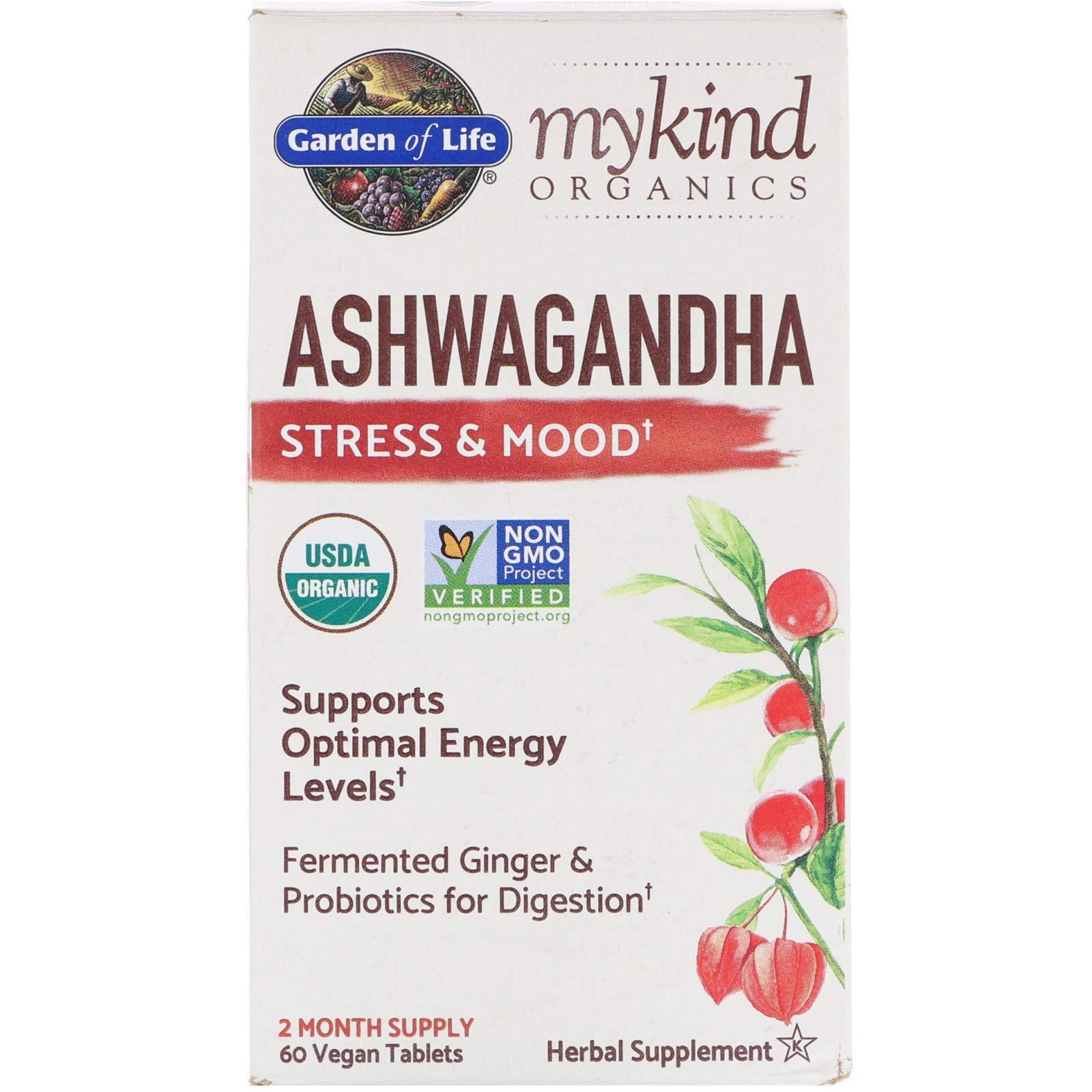 Garden of Life, MyKind Organics, Ashwagandha, Stress & Mood, 60 Vegan Tablets