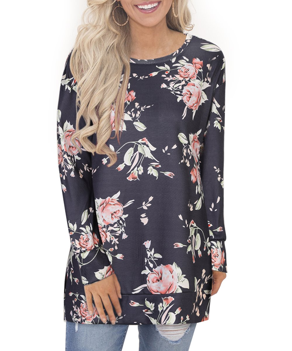 OUGES Women's Long Sleeve Floral Print Pullover Casual Side Split Tunic Tops(Floral-3,XL)