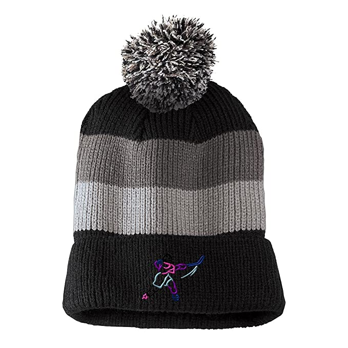 Women s Hockey Embroidered Unisex Adult Acrylic Vintage Striped Removable  Pom Pom Beanie Winter Hat - Black d88b5f7f17