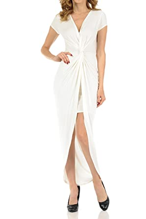 9d488b4ffa3 Auliné Collection Womens Deep Vneck Ruched Twist Flowy High Low Maxi Dress  Off White Small