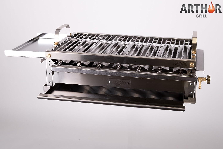 Arthur Grill Barbecue à gaz démontable en acier inoxydable