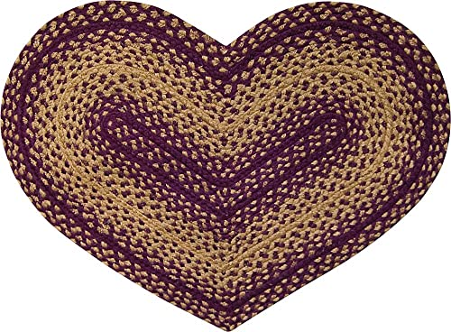 IHF Home Decor 20 X 30 Braided Heart Shape Area Rug New Vintage Star Design Jute Fabric