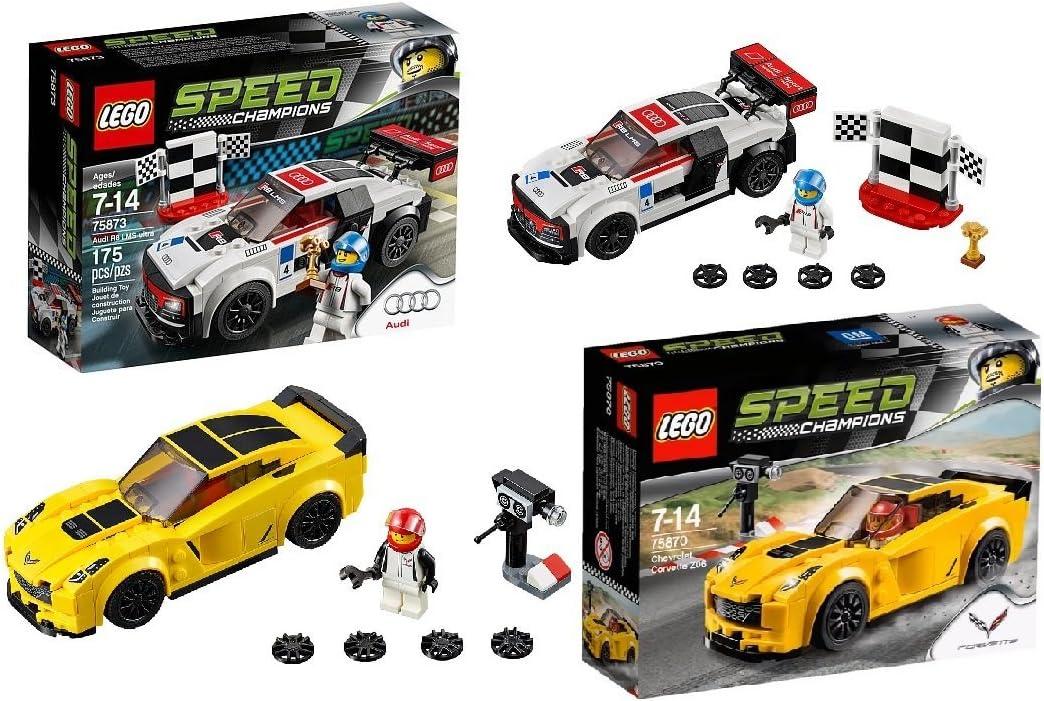 LEGO Speed Champions 4 Set Toy Car Bundle Chevrolet Corvette Z06 75870, Ford Mustang GT 75871, Audi R18 e-tron Quattro 75872 and Audi R8 LMS Ultra 75873