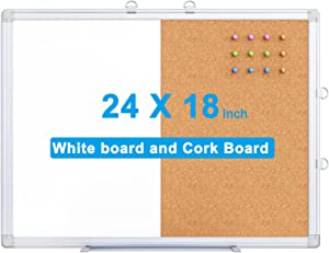 Magnetic White Board and Bulletin Cork Board Combination, 24 x 18 Inch Dry Erase Board Bulletin Combo Board, Hanging Wall Mounted Message Board Corkboard for Home, School, Office