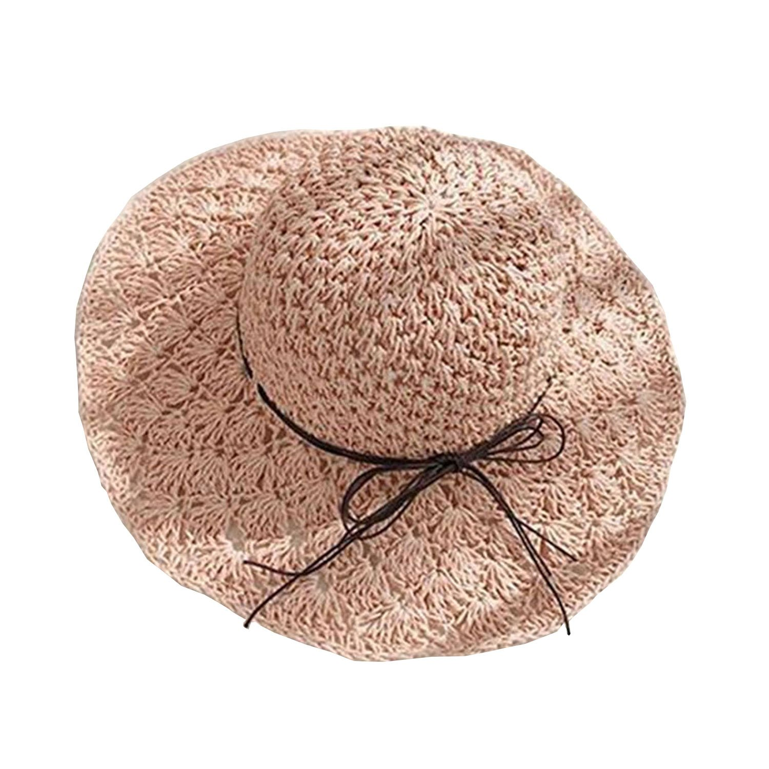 9c489d1365b BOW Womens Foldable Straw Hat Floppy Hat Sun Hat Summer Beach Hat Topee for  Girls with Bowknot (Beige)  Amazon.ca  Clothing   Accessories
