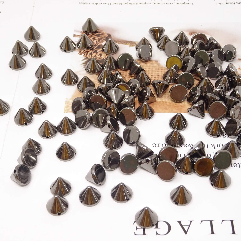 Honbay 100PCS Acrylic Punk Bullet Rivets Cone Spike Studs Beads Sew on or Glue on Gun Black