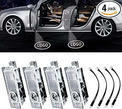 Fit Audi Wesport 4 Pcs Double Interface Design Car Door LED Logo Projector Welcome Lights Ghost Shadow Lights Compatible With