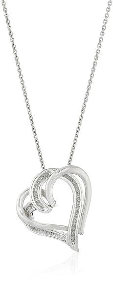 Amazon sterling silver diamond double heart pendant necklace sterling silver diamond double heart pendant necklace 110 cttw 18quot aloadofball Choice Image