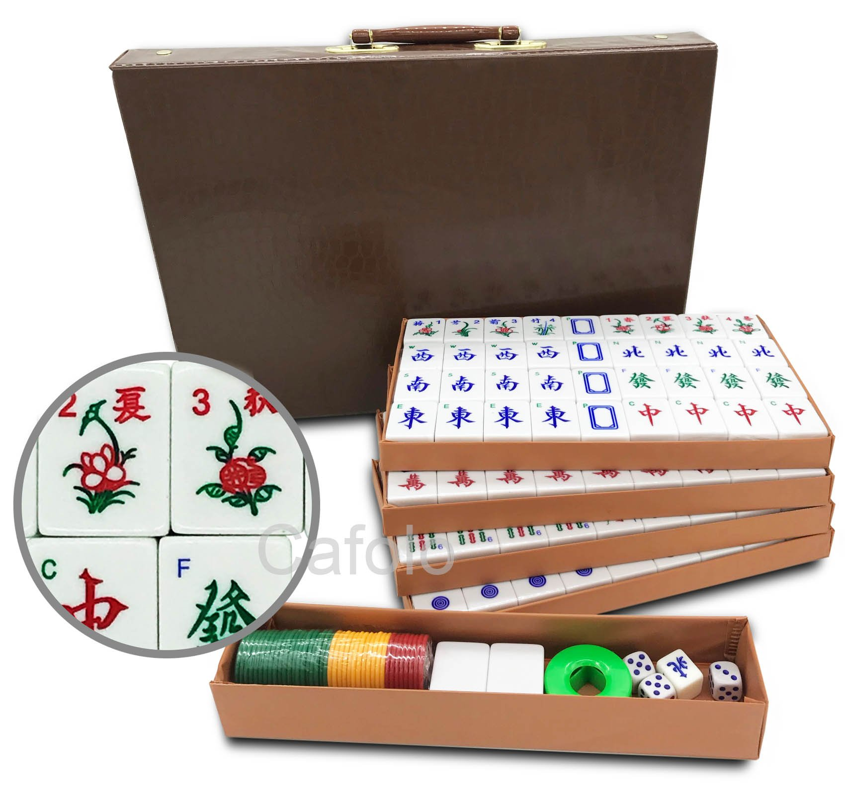 Mose Cafolo Chinese Mahjong X-Large 144 Numbered Melamine Tiles 1.5'' Large Tile with Carrying Travel Case Pro Complete Mahjong Game Set - (Mah Jong, Mahjongg, Mah-Jongg, Mah Jongg, Majiang) by Mose Cafolo