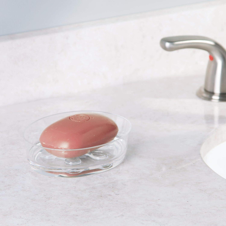 iDesign Dispensador de jab/ón rellenable bote dosificador de pl/ástico para 295 ml transparente y plateado dosificador de jab/ón l/íquido o crema