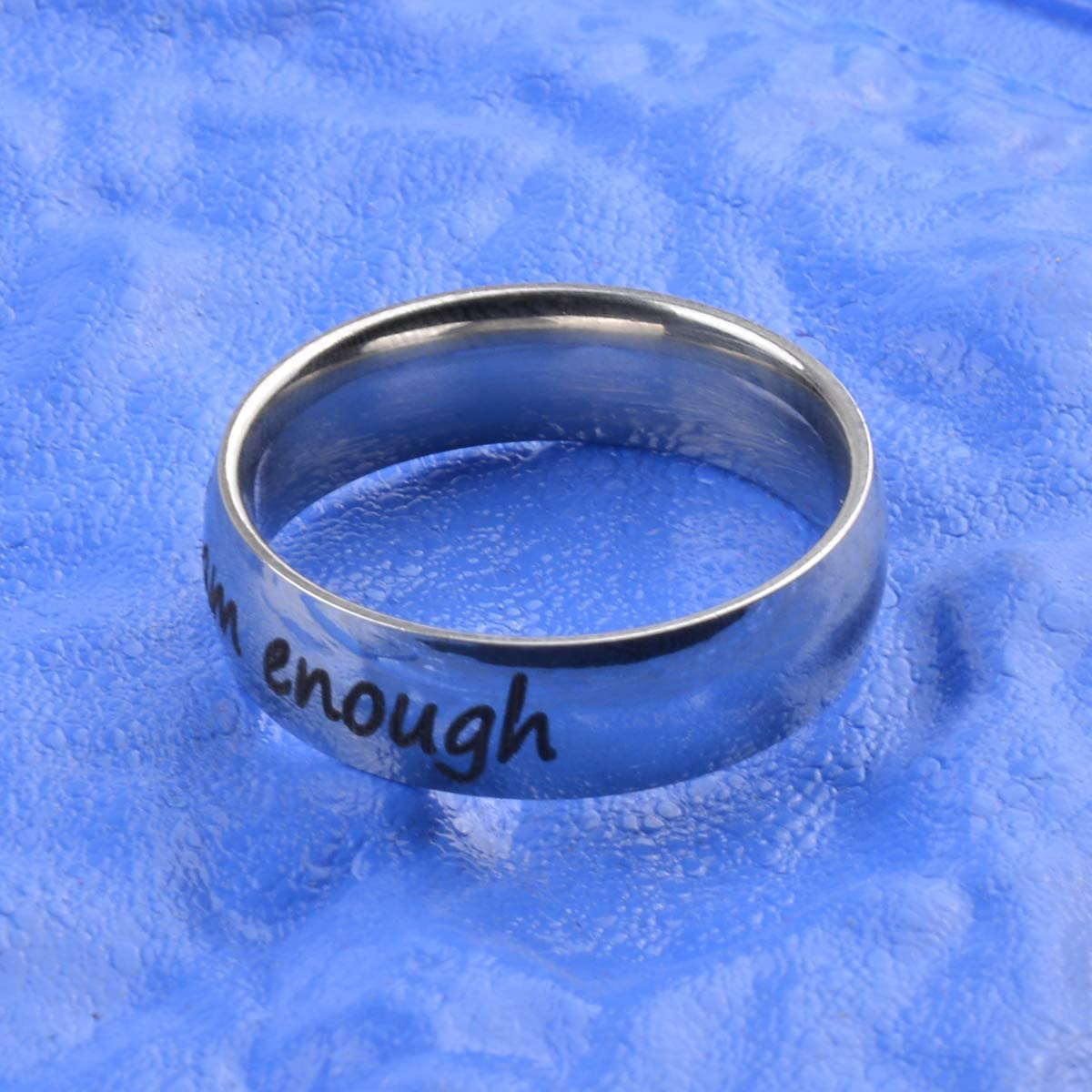 Cozylkx I Am Enough Stainless Steel Awareness Ring Inspiration Jewelry Suicide Depression