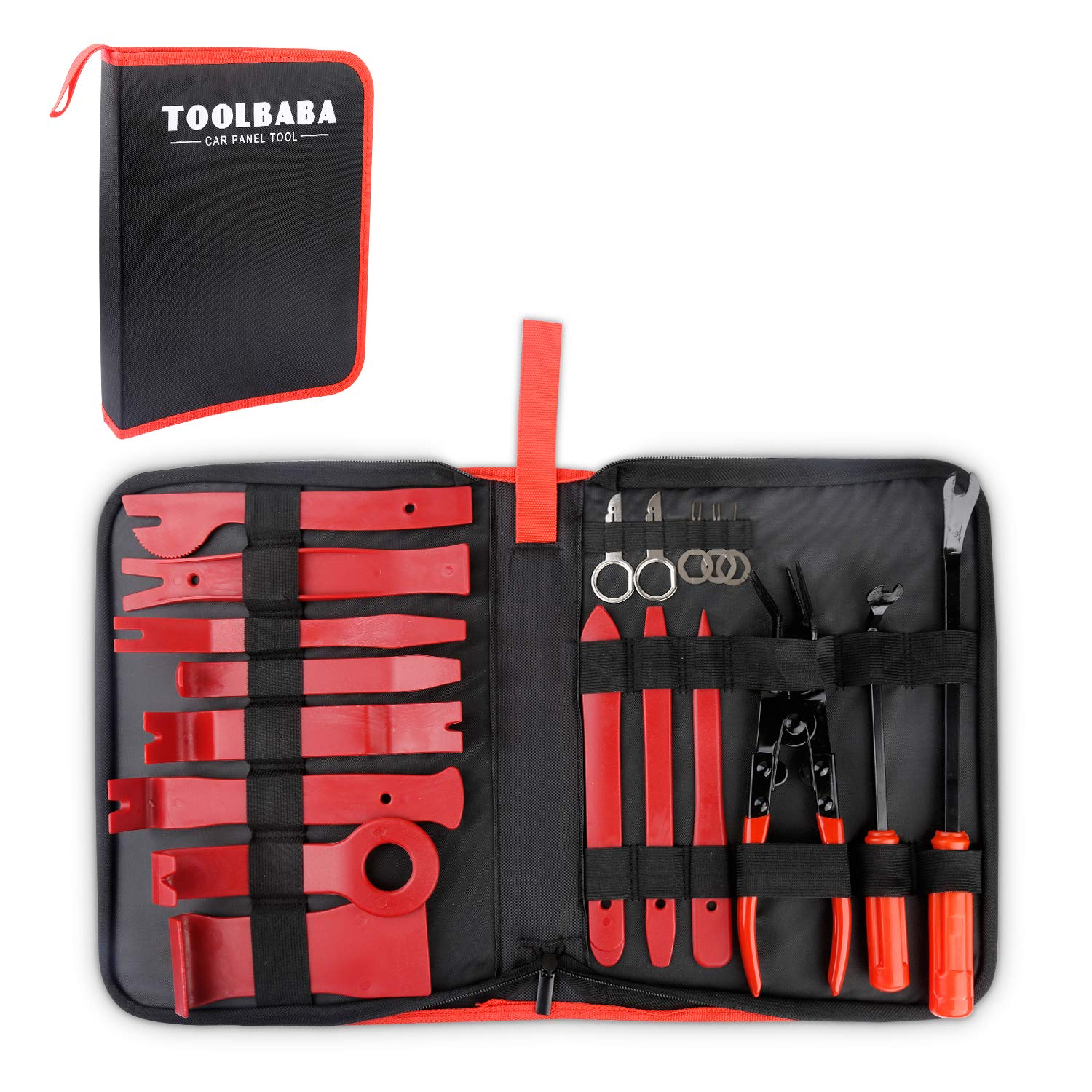 TOOLBABA Car Panel Removal Tools Kit -19pcs Trim Removal Tool Set Nylon for Car Panel Dash Audio Radio Removal Installer and Repair Pry Tool Kits with Storage Bag