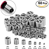 60Pcs Stainless Steel Wire Thread Insert Assortment Metric M3 M4 M5 M6 M8 M10 M12,Helicoil Type Thread Repair Insert Kit