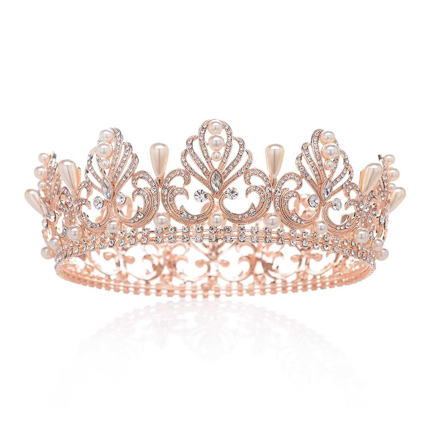 SWEETV Rose Gold Tiara Full Round Crown Crystal Party Headpieces Pearl Hair Jewelry for Women SVCHG17033C1007