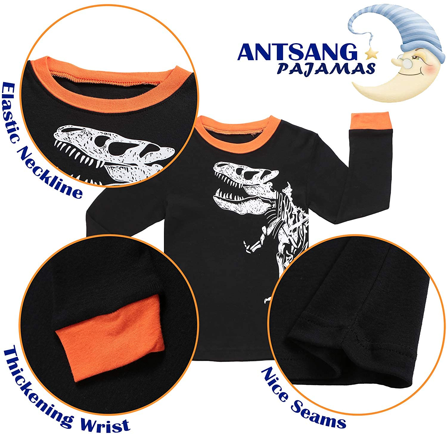 42f3c8c34521 Amazon.com  ANTSANG Boys Dinosaur Pajamas Sleepwear Clothes 100 ...