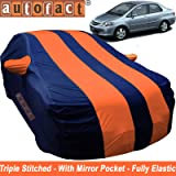 Autofact Car Body Cover for Honda City Zx (2004 to 2008) (Mirror Pocket, Premium Fabric, Triple Stiched, Fully Elastic, Orange/Blue Color)