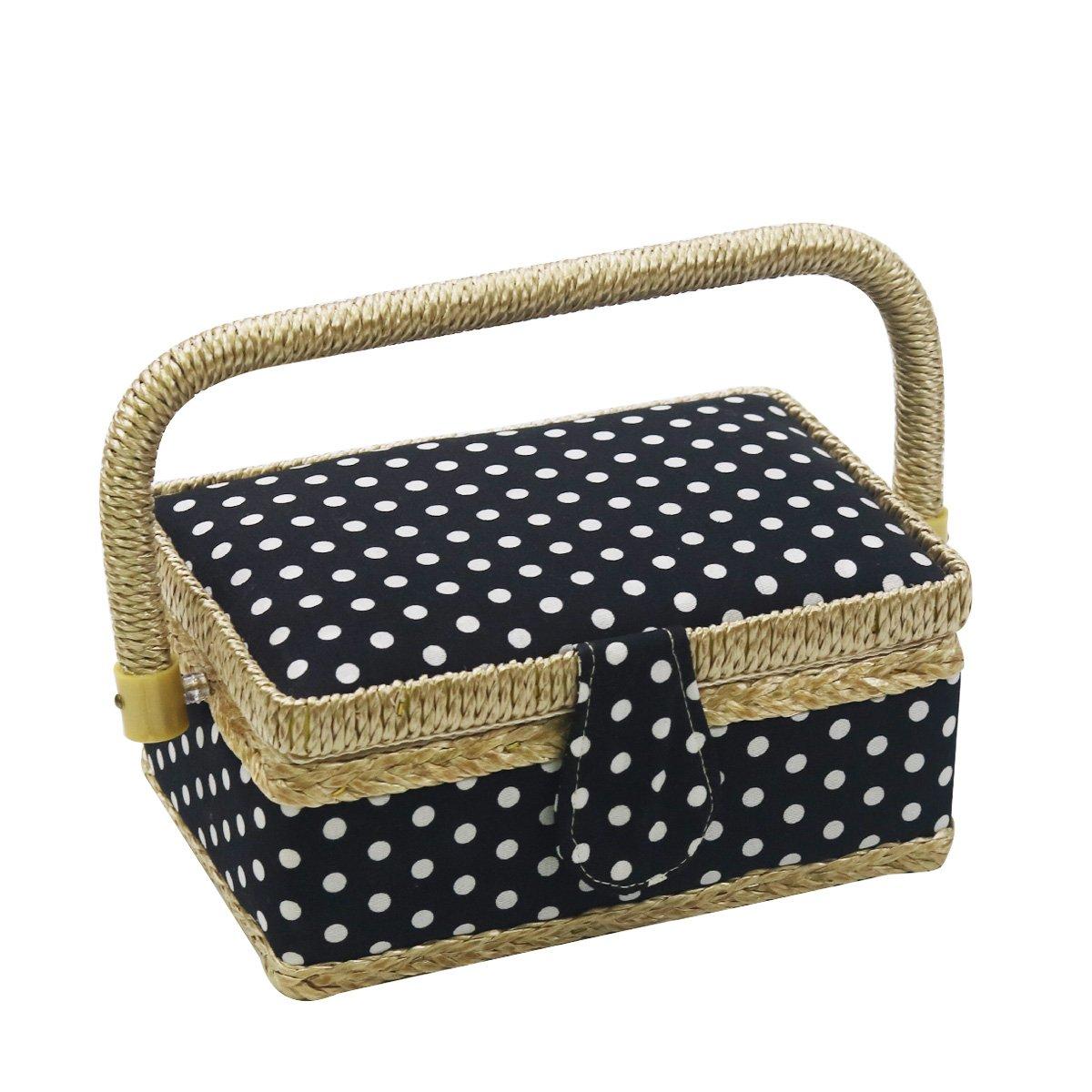 D & D Pois Panier à couture–Home et boîte de couture de voyage S noir/blanc D&D
