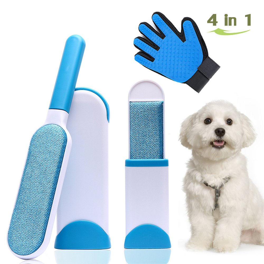 Pet Fur Lint Remover Brush, Pet Hair Remover Tool with Self-Cleaning Base, Dog & Cat Hair Remover for Couch, Carpet, Bed,Clothing and Furniture & Pet Grooming Glove/Efficient Pet Hair Remover Mitt