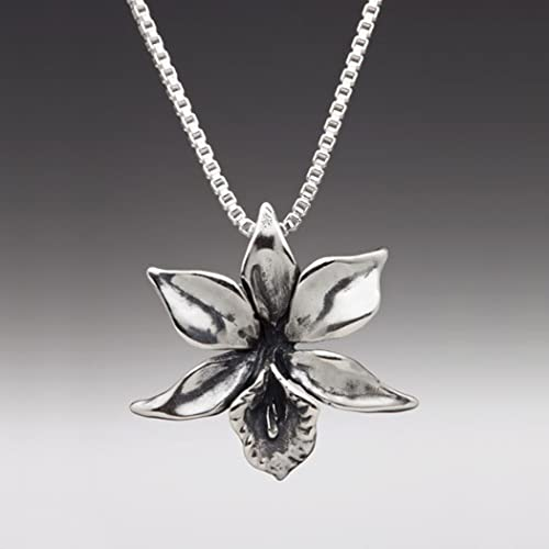 Amazon flower necklace silver orchid necklace orchid charm flower necklace silver orchid necklace orchid charm flower charm flower pendant silver flower aloadofball Choice Image