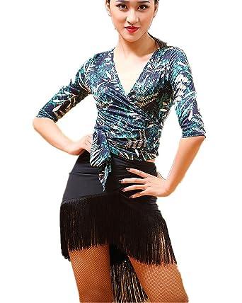 abfcecf9e6 TALENT PRO Women Dance Performance Outfits Set of 2 Pieces Floral-Print  Dance Top