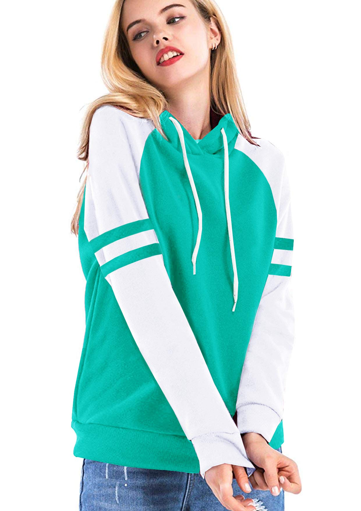 Yidarton Women's Color Block Long Sleeve T Shirt Casual Round Neck Tunic Tops Hoodies(Green,M)