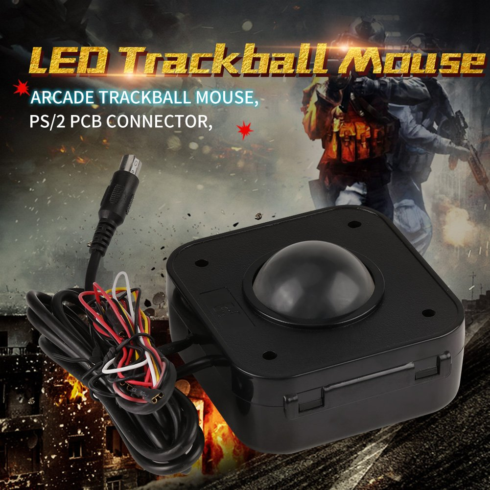Illuminated 4 5cm Round LED Trackball Mouse PS/2 PCB Connector For Arcade