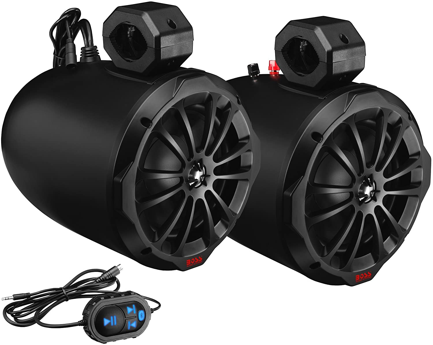 BOSS Audio Systems B82ABT ATV Waketower Speaker System - Amplified, 800 Watts Per Pair, 200 Watts Each, 8 Inch, Full Range, 2 Way, Bluetooth, Weatherproof, Sold in Pairs