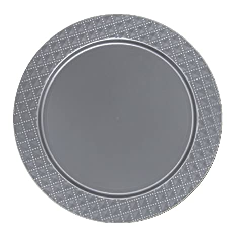 Amazon.com | Posh Setting Silver Charger Plates, Diamond Design ...
