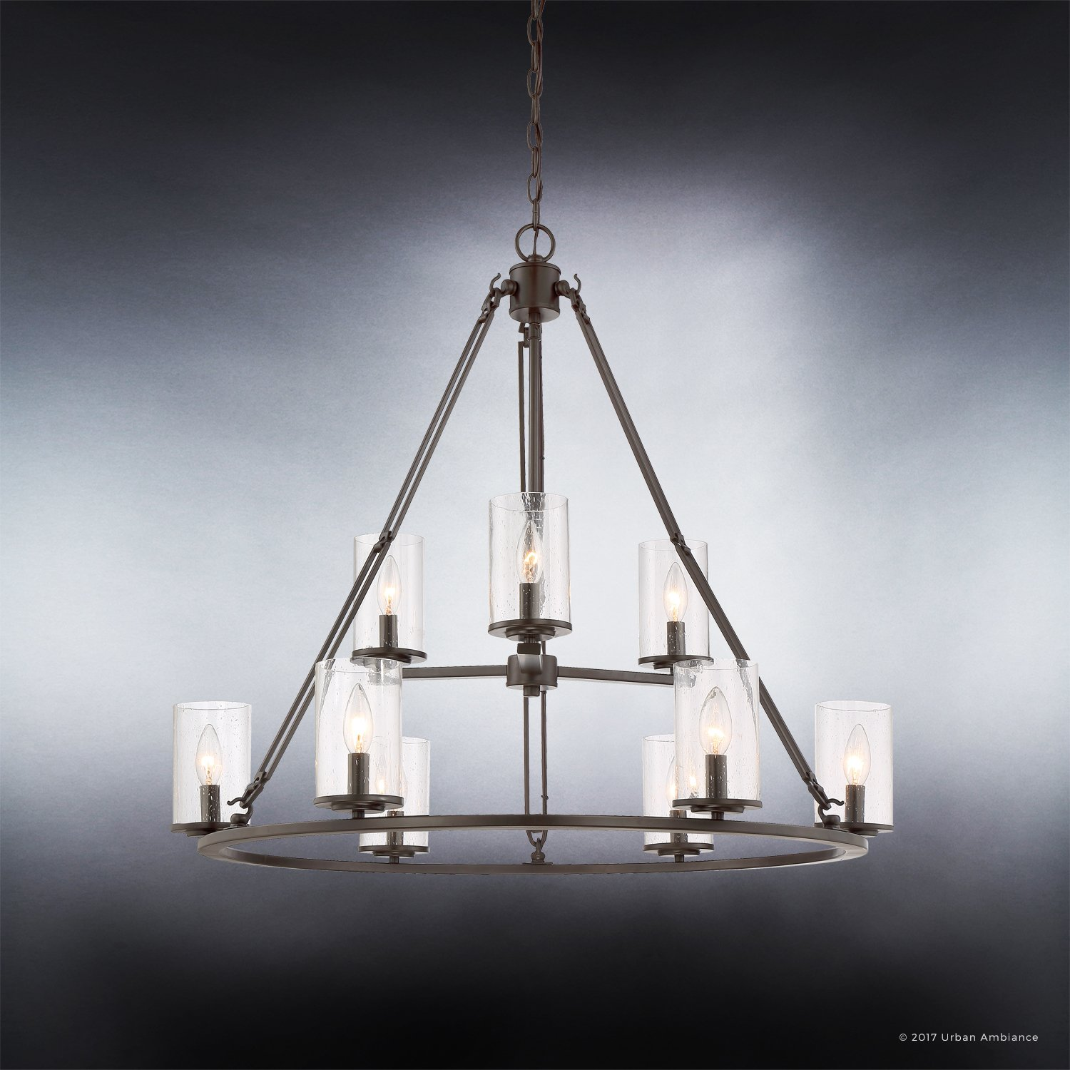 Luxury Industrial Chandelier, Large Size: 30''H x 33''W, with Western Style Elements, Rectangular Link Design, Elegant Estate Bronze Finish and Seeded Glass, UQL2131 by Urban Ambiance by Urban Ambiance (Image #5)