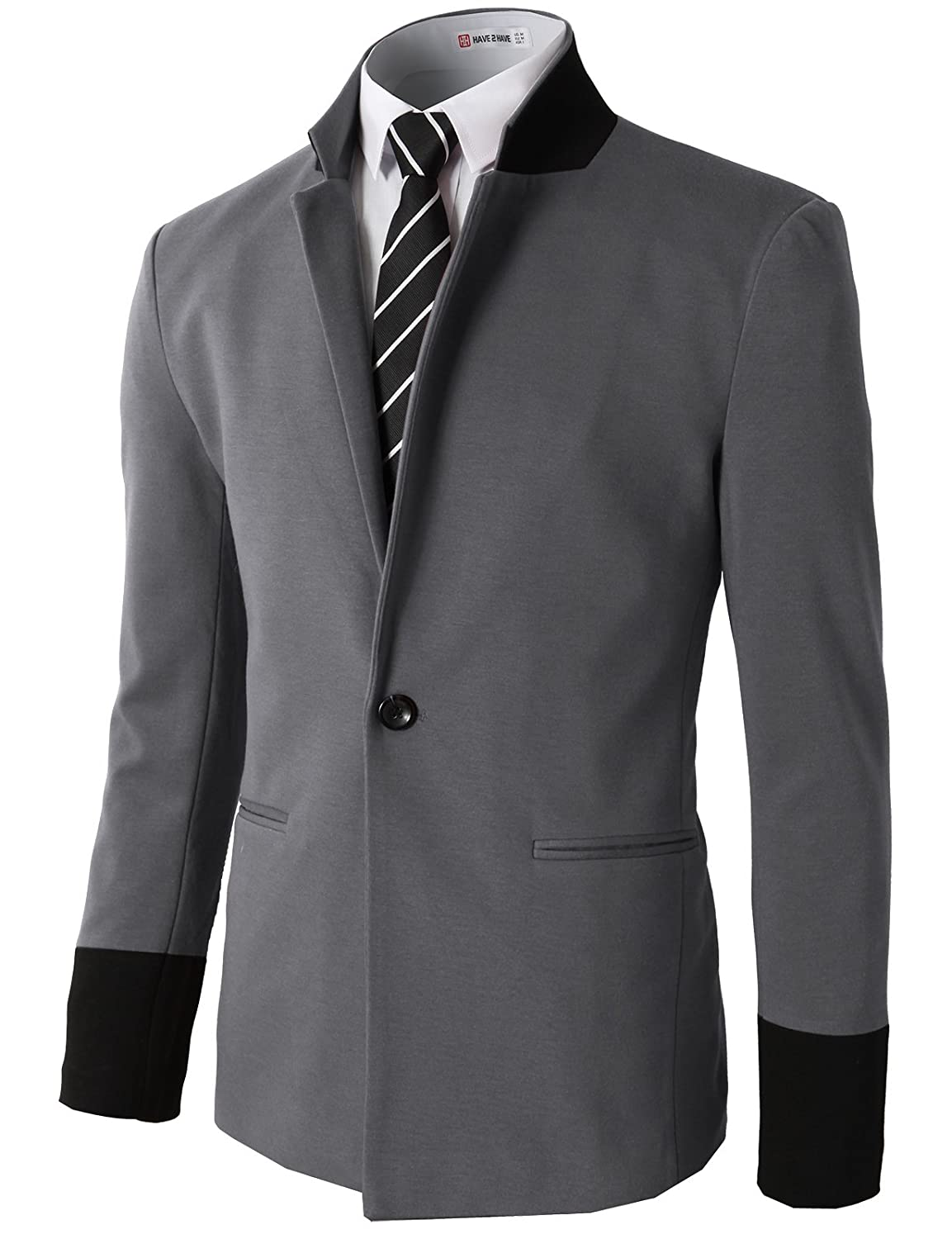 H2H Mens Slim Fit Premium Stylish One Button Suit Coat Jacket Business Blazers #CMOBL014