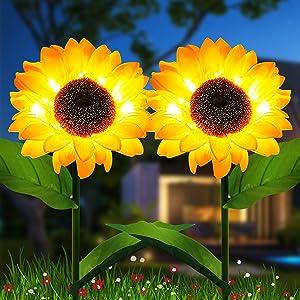 GSBLUNIE Sunflower Solar Lights Outdoor Garden, Automatic Charging Solar Garden Lights Decorative, IP65 Waterproof LED Landscape Solar Powered Outdoor Lights for Garden Patio Lawn Yard-2 Pack