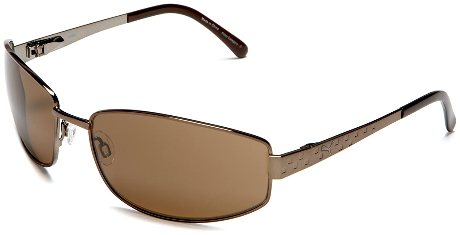 cba3d9cf9321 Amazon.com: PUMA eyewear Men's Chopper II Sunglasses,Brown frame/Brown  lens,one size: Clothing