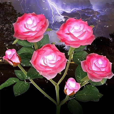 Solar Powered Rose Flower LED Lights Garden Stake Fairy Lamp Yard Outdoor Decor