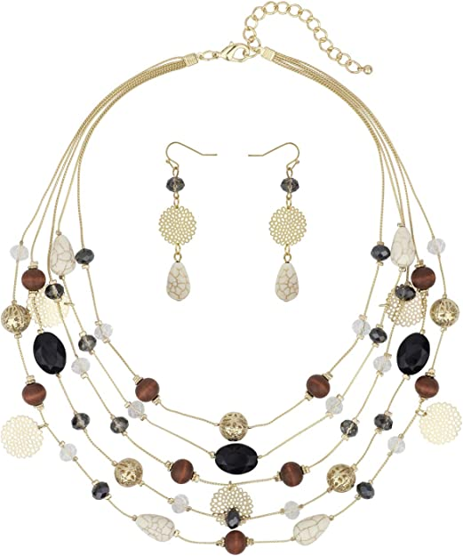 multicolored pearl necklace necklace necklace jeweler wire copper beige rust dark brow Polaris beads sand
