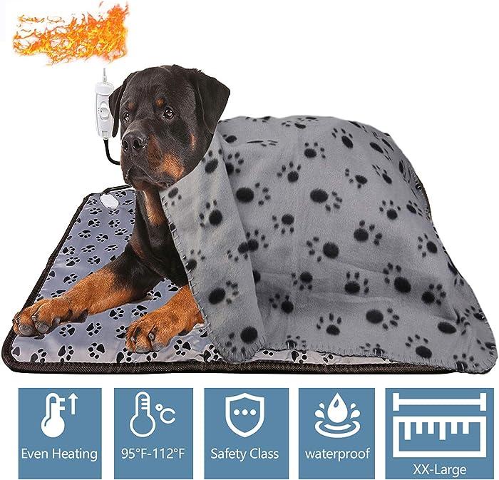 wangstar Pet Heat Pad for Pets Dogs Cats Indoor Warming Mat Waterproof Chew Resistant