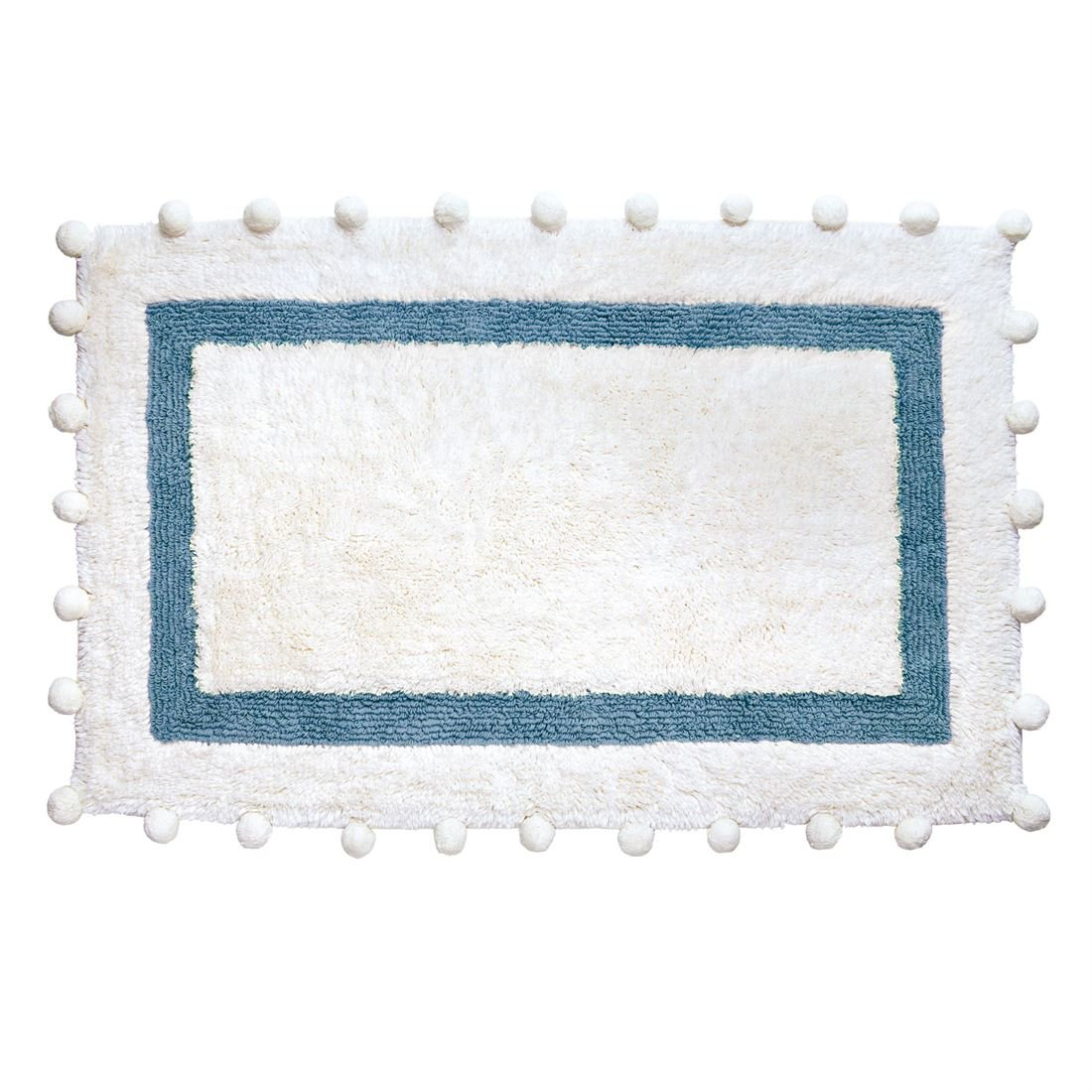 BrylaneHome Pompom Cotton Bath Rug (Light Blue,0)