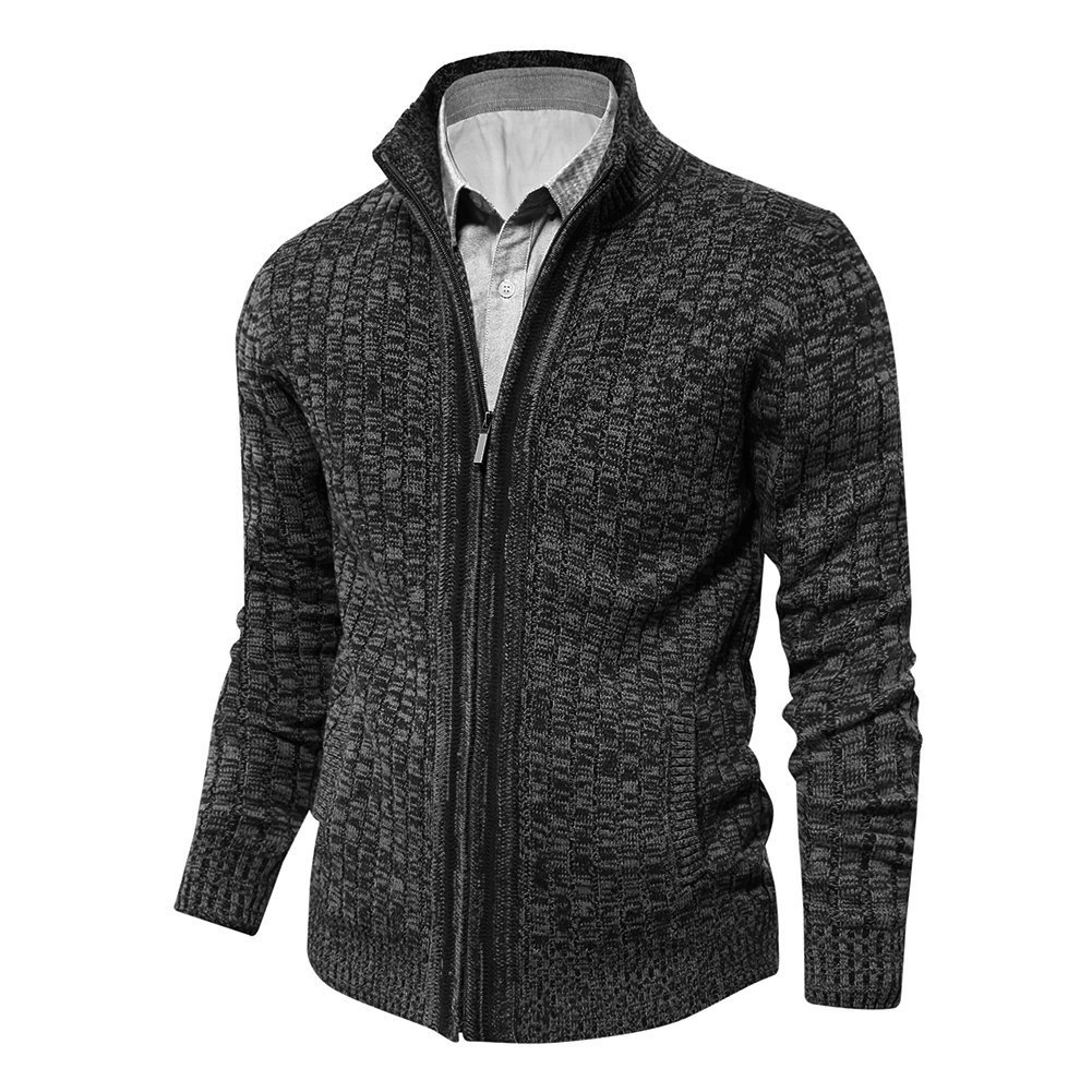 Aoli Ray Men's Knitted Cardigan Sweater Slim Fit Stand Collar Zip-up with 2 Side Pockets