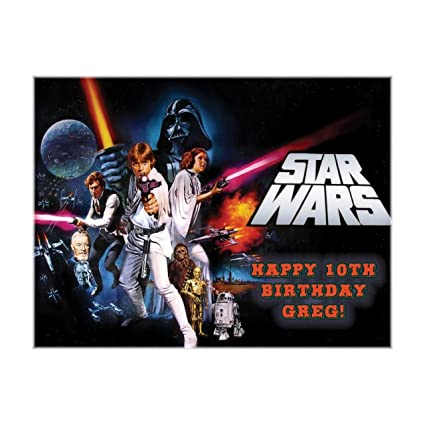 Classic Star Wars Cumpleaños ~ Edible imagen Pastel/Cupcake ...