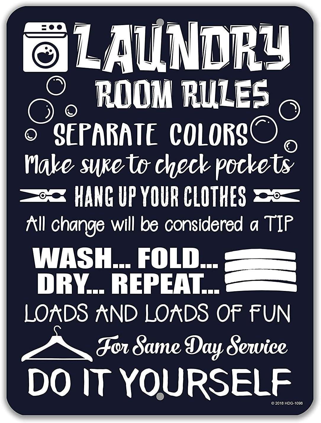 KELLEN WHITEHEAD Laundry Laundry Rules Funny Laundry Affiche De D/écoration Dr/ôle De Panneau De Mur en M/étal Art