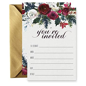 223c1eb44ea3 Amazon.com  15 Winter Floral Invitations with Gold Envelopes for ...