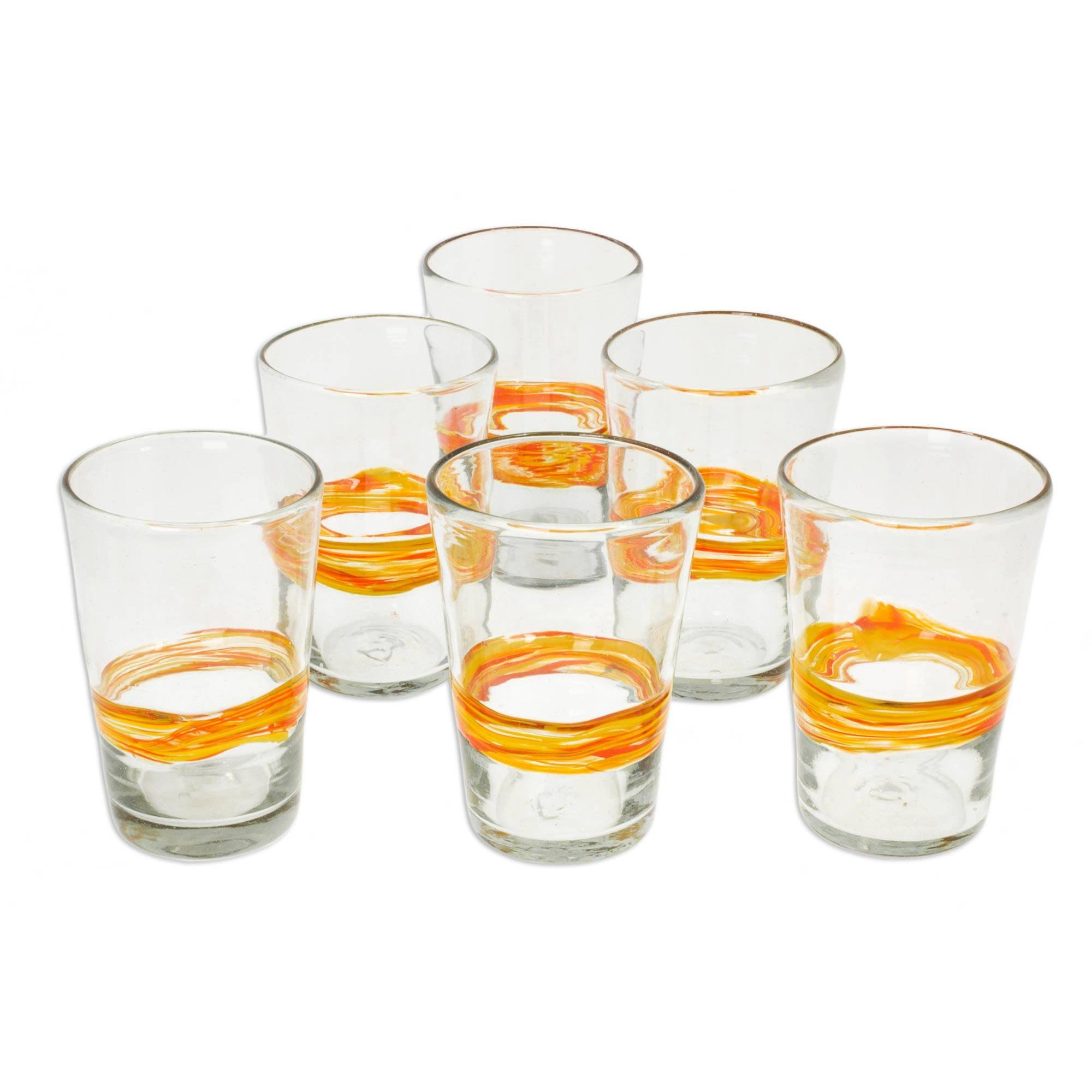 NOVICA Artisan Crafted Yellow Clear 208628''Ribbon of Sunshine Blown Glass Tumbler, Set of 6