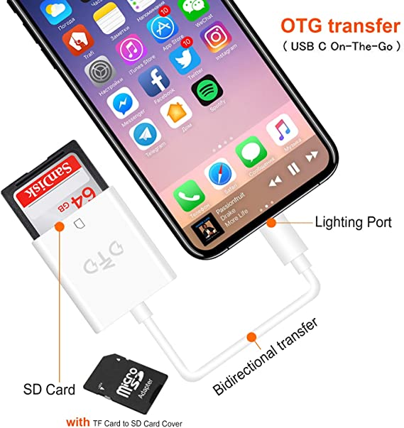 Lightning to SD Card Camera Reader Adapter for iPhone X 8 7 Plus iPad Pro iOS12