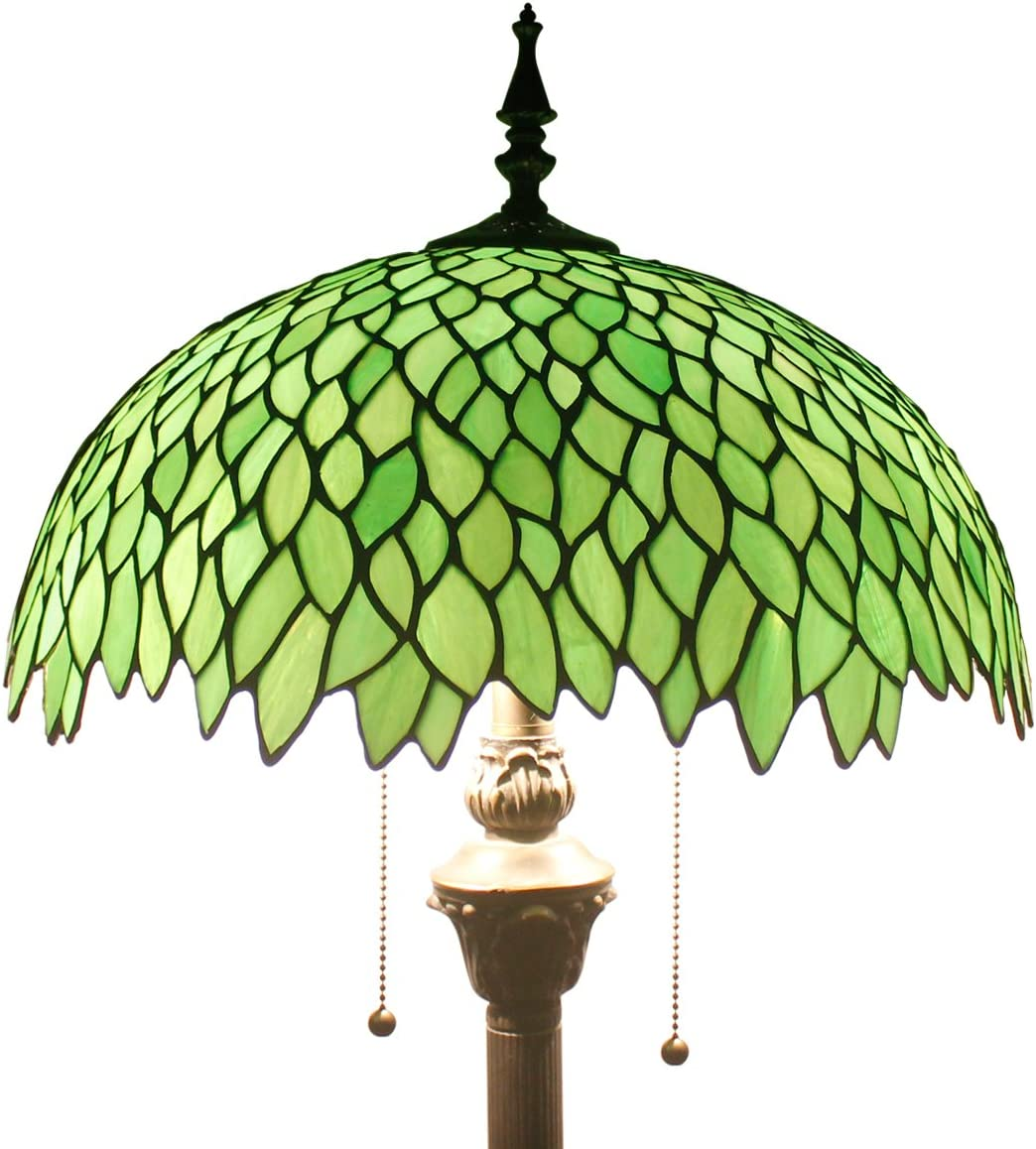 Green Wisteria Tiffany Style Floor Standing Lamp 64 Inch Tall Stained Glass Shade 2 Light Pull Chain Antique Base Chain for Bedroom Living Room Lighting Table S523 WERFACTORY